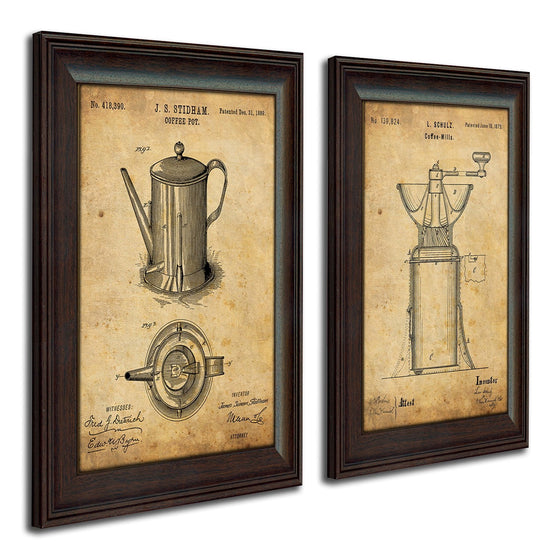 Personalized coffee art print featuring the original patent art of a coffee pot & grinder - Personal-Prints