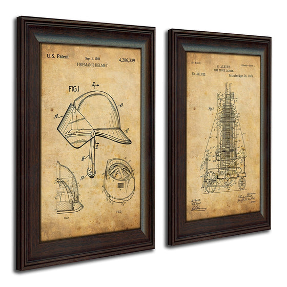 Firefighter wall decor using the original patent art of a firefighter's helmet and Fire Engine - Personal-Prints