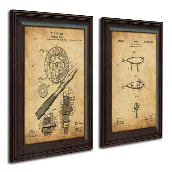 Fishing patent art designed from the original patent art of a fishing Heddon and Glocken reel - Personal-Prints