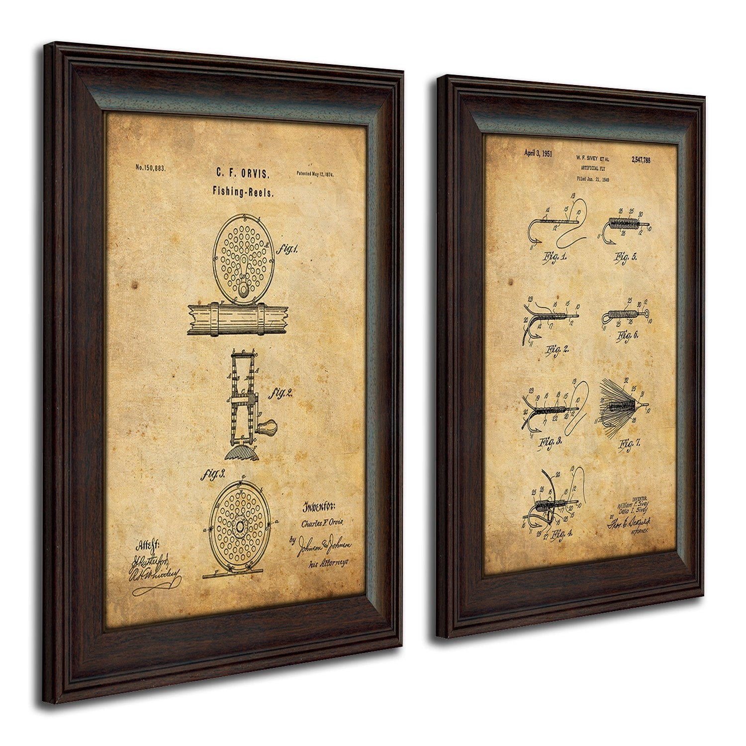Patent Art Set - Fly Fishing Art For The Fishing Lover | Personal-Prints
