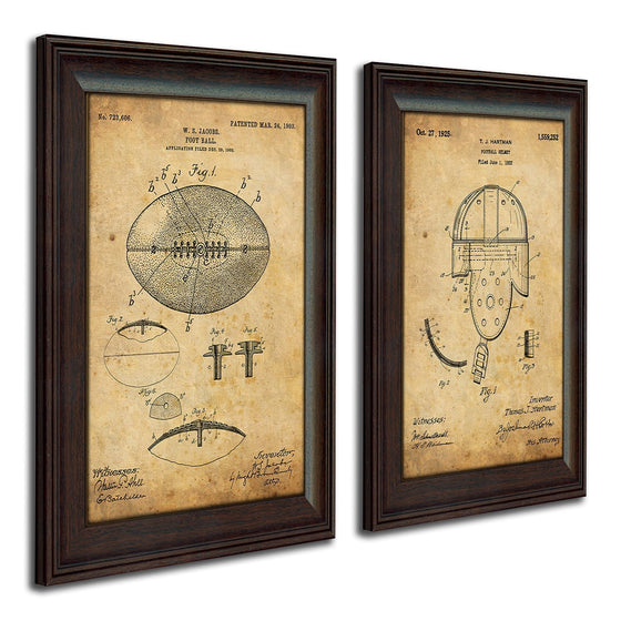 Vintage patent art set based on the original patent art for a football and helmet - Personal-Prints