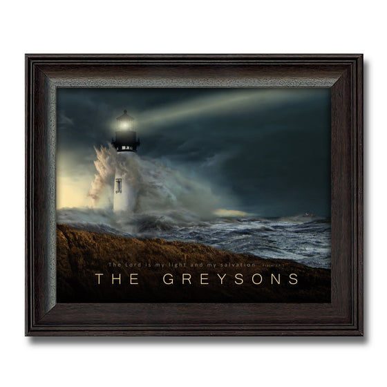 Lighthouse art with inspirational quote framed under glass