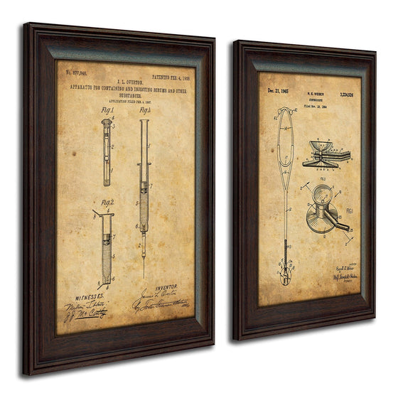 US Patent Drawing Art Syringe & Stethoscope gift for a nurse