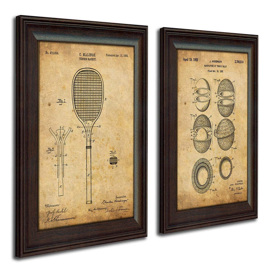 Vintage framed art of patents for tennis racket and ball - Personal-Prints