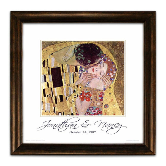 "Personalized art print of the masterpiece ""The Kiss"" by Gustav Klimt - Personal-Prints"