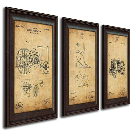 Patent art print of the original drawing for a John Deere tractor - Personal-Prints