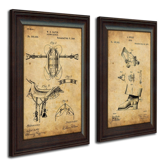 Patent art designed from the original art of a saddle and spurs - Western Decor