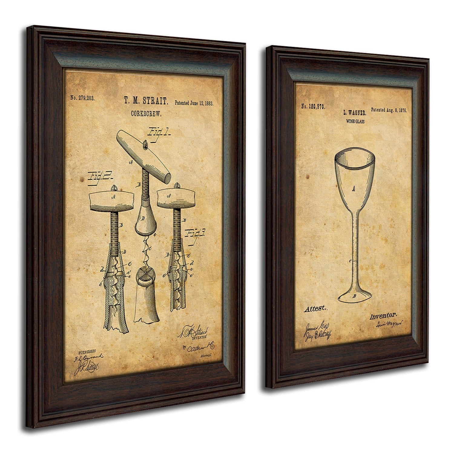 ... Framed Wine Art Using The Original Patent Art For A Cork Screw And Wine  Glass ...