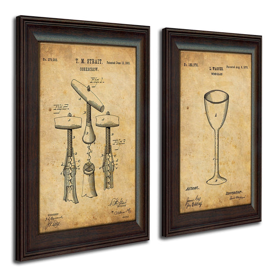 Framed wine art using the original patent art for a cork screw and wine glass - Personal-Prints
