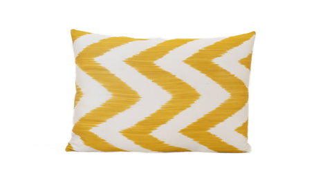 Big Yellow ZigZag - IKAT SILK PILLOW