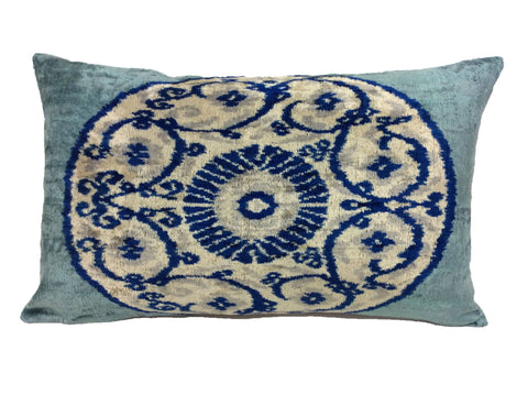 BREAKER BEY MEDALLION - IKAT SILK/VELVET PILLOW