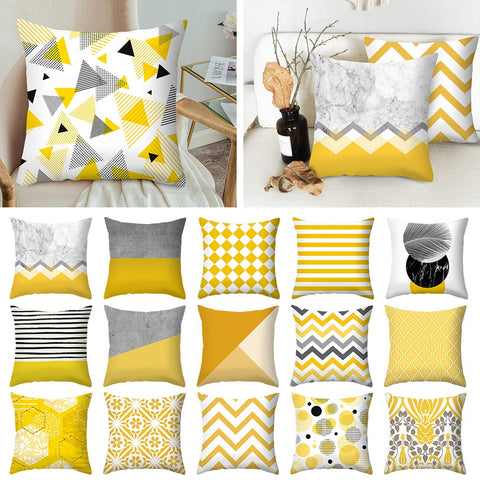 Urijk Yellow Geometric Printed Throw Pillow Case