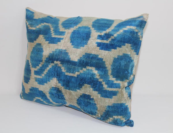 Blue Ikat Pillow Cover - 15.5'' x 19'' Ikat Pillows Decorative Pillow