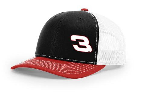 No. 3 Richardson 112 Hat - Black/White/Red