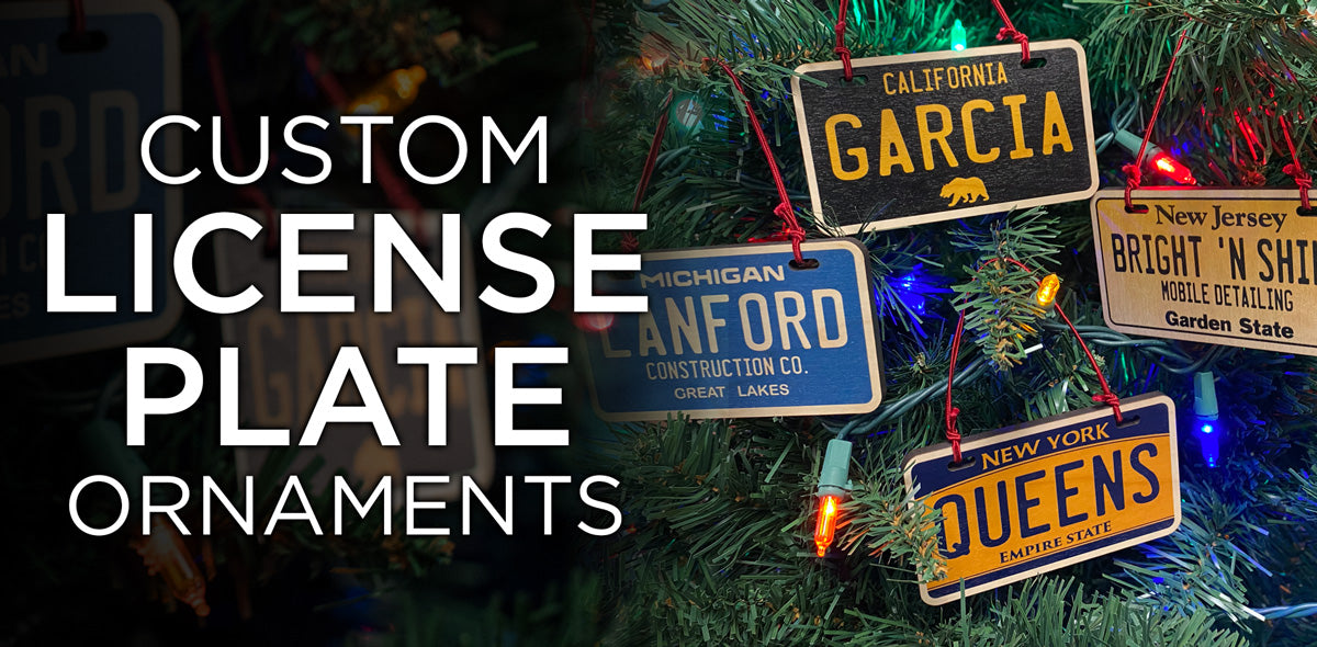 Custom License Plate Ornaments