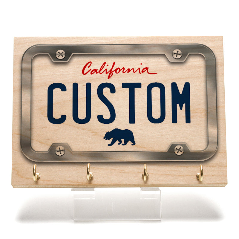 California White License Plate Key Rack