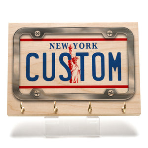 New York White License Plate Key Rack