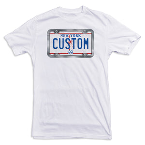 New York WHITE License Plate Tee