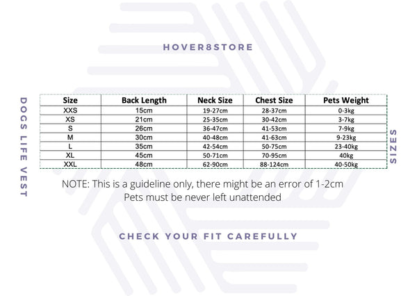 Hover8Store Dogs Lifevest Dubai Sizing Chart