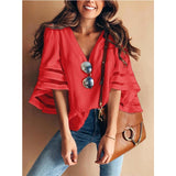 Women's Casual Loose V Neck Blouse