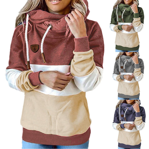 Contrast Stitching Hooded Turtleneck Sweatshirts for Women