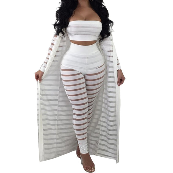Hollow Out Stripe 3PC Outfit