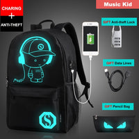 Luminous USB Charge Laptop Computer Backpack For Teenager Anti-theft Boys School Bag