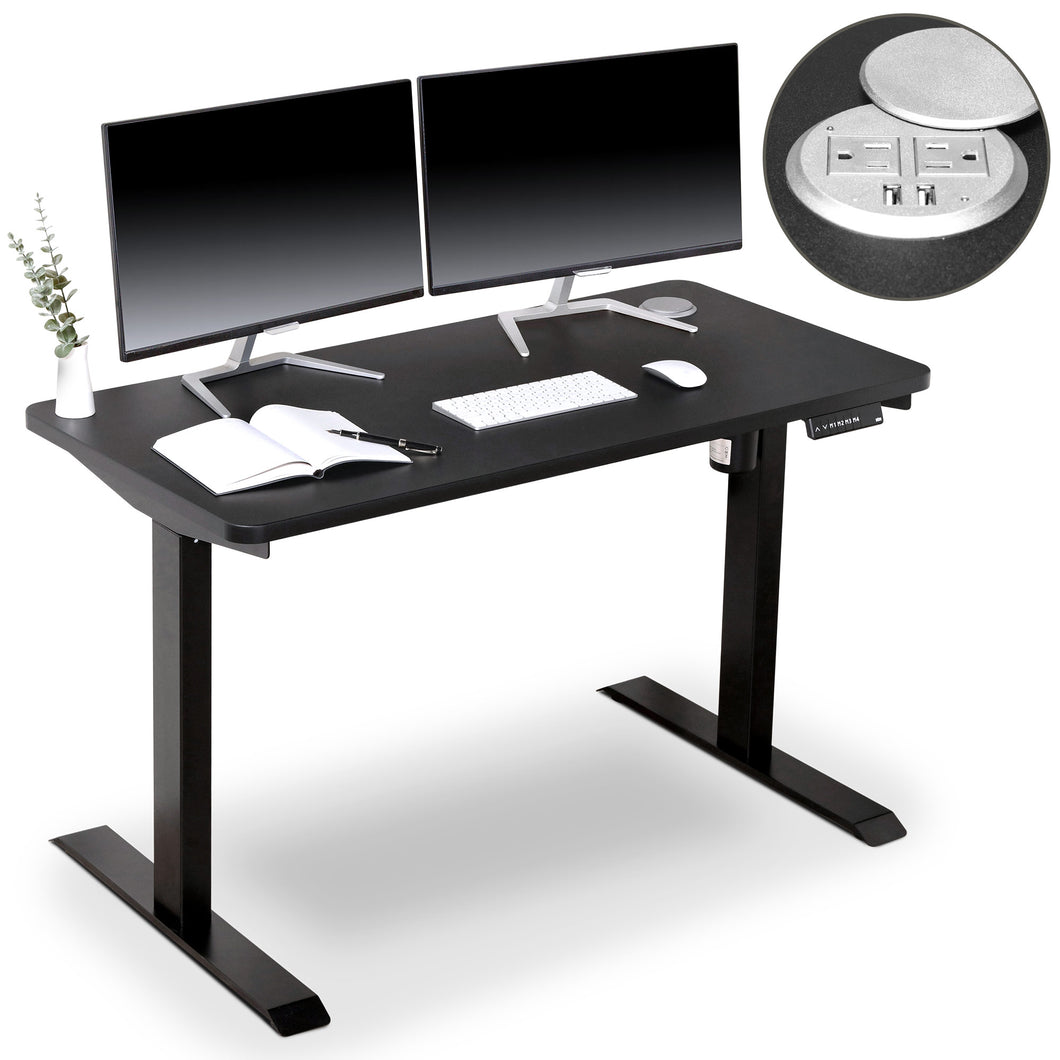 BRODAN Electric Standing Desk with Power Charging Station, 48x24, Black Top with Black Frame