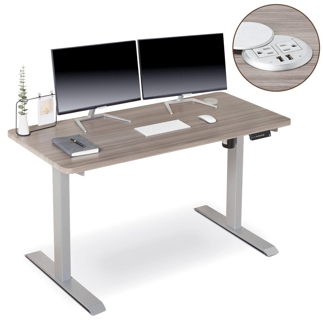 BRODAN Electric Standing Desk with Power Charging Station, 54x24, Oak Top with Gray Frame