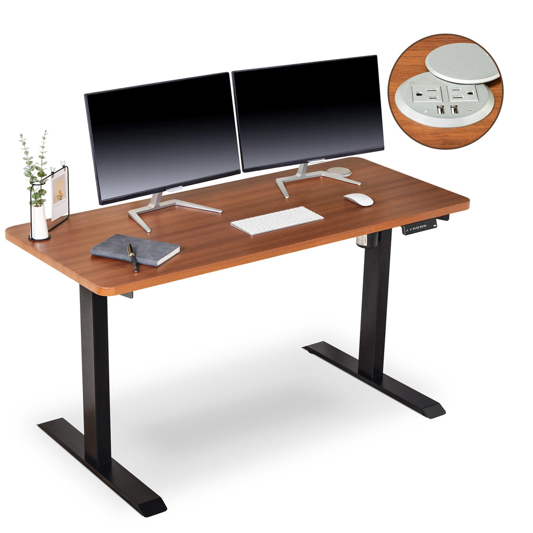 BRODAN Electric Standing Desk with Power Charging Station, 54x24, Walnut Top with Black Frame