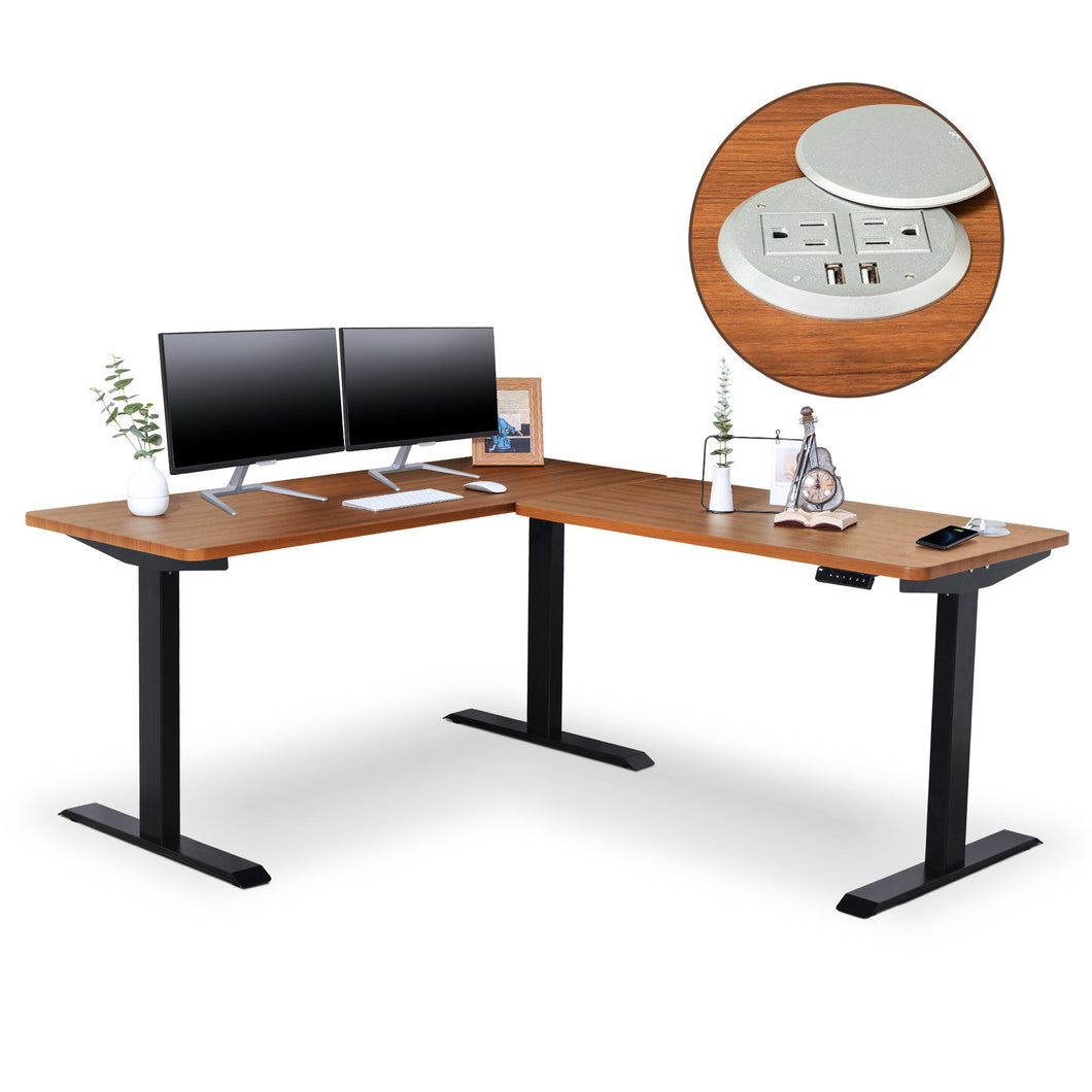 BRODAN Electric Standing L Desk with Power Charging Station, Walnut Top with Black Frame, 67x59 inches