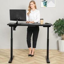 Load image into Gallery viewer, BRODAN Electric Standing Desk with Power Charging Station, 48x24, Black Top with Black Frame
