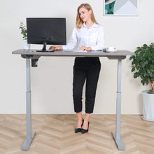 Load image into Gallery viewer, BRODAN Electric Standing Desk with Power Charging Station, 54x24, Oak Top with Gray Frame
