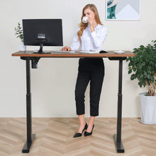 Load image into Gallery viewer, BRODAN Electric Standing Desk with Power Charging Station, 54x24, Walnut Top with Black Frame