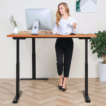 Load image into Gallery viewer, BRODAN Electric Standing L Desk with Power Charging Station, Walnut Top with Black Frame, 67x59 inches