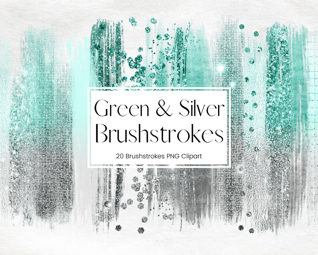 Sparkling Green and Silver Glitter Brushstroke Clipart