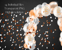 Load image into Gallery viewer, Orange Confetti Balloon Garland Clipart