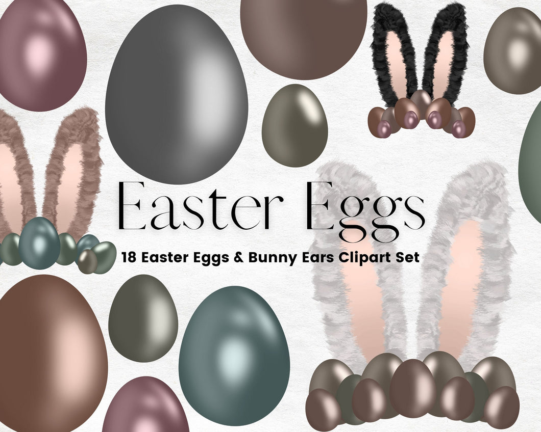 Easter Eggs and Bunny Ears Clipart