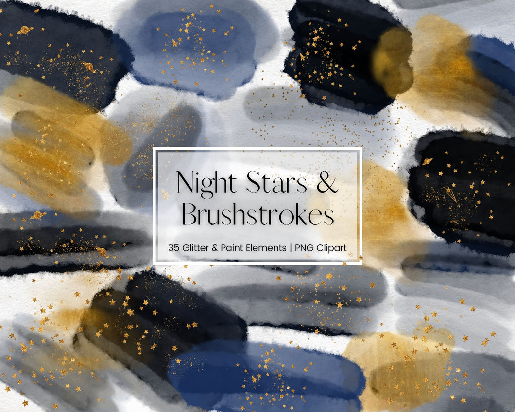 Night Sky Navy Watercolour Brushstrokes Clipart