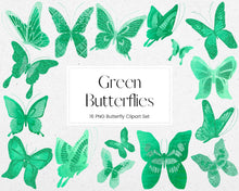 Load image into Gallery viewer, Green Butterfly Clipart