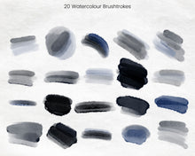Load image into Gallery viewer, Night Sky Navy Watercolour Brushstrokes Clipart