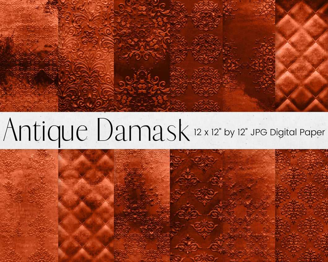 Copper Antique Damask Digital Paper