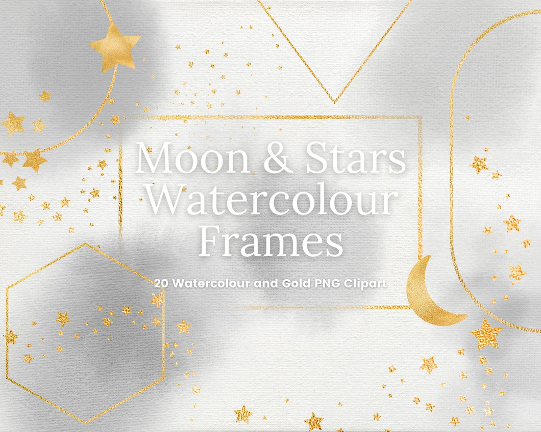 Celestial Grey Watercolour and Gold Frames