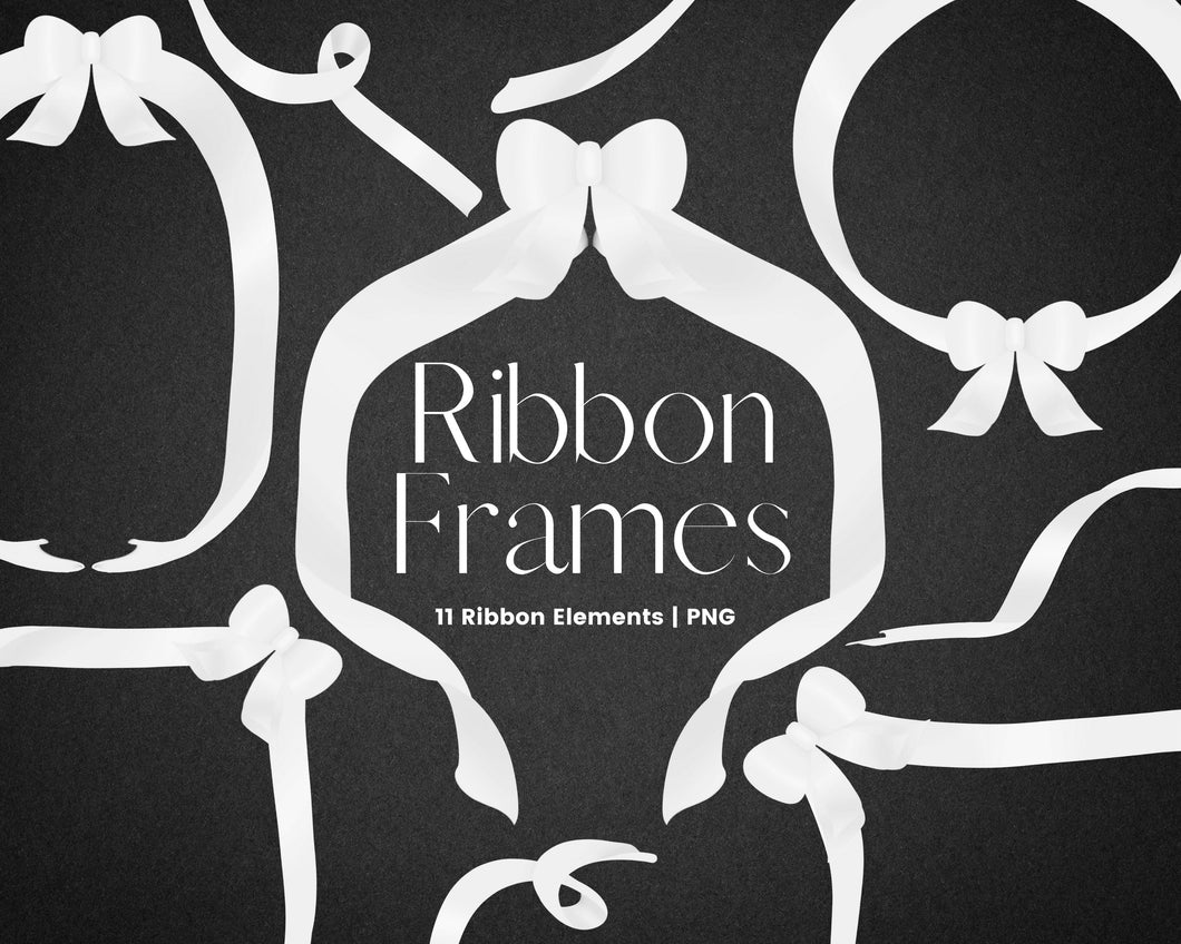 White Ribbon Frame Clipart