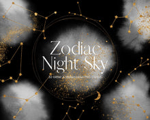 Load image into Gallery viewer, Black and White Watercolour Zodiac Constellation
