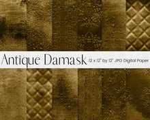 Load image into Gallery viewer, Gold Antique Damask Digital Paper