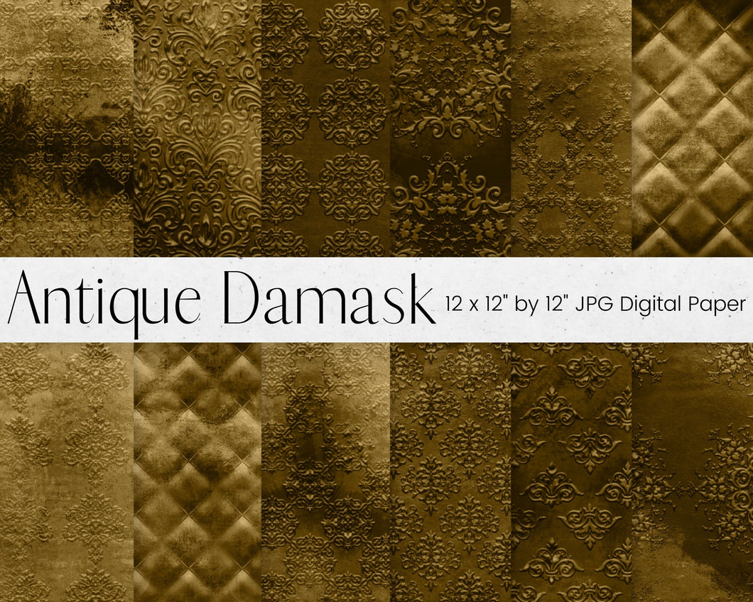 Gold Antique Damask Digital Paper