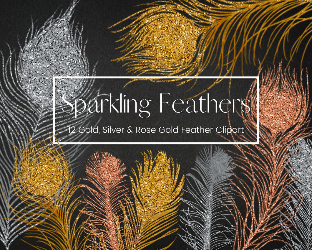 Foil and Glitter Feathers Clipart