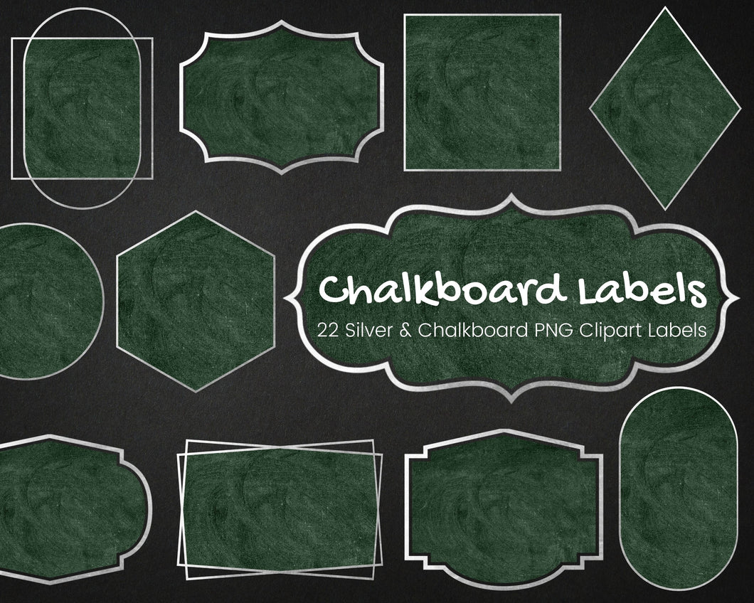 Silver and Green Chalkboard Label Clipart