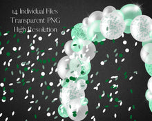 Load image into Gallery viewer, Green Confetti Balloon Garland Clipart